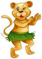 Gelukkige leeuw die alleen danst