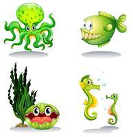 Zeedieren in groene kleur vector