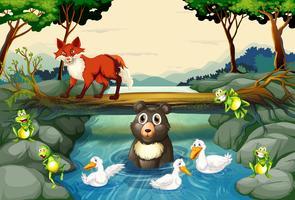Wilde dieren bij de rivier vector