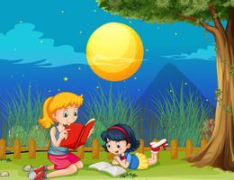 Twee meisjes die boek op fullmoon nacht lezen vector