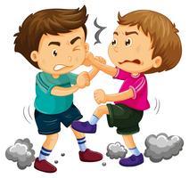 Twee jonge jongens vechten