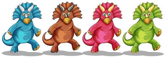 Dinosaurussen in vier verschillende kleuren