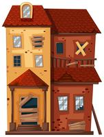 Bakstenen huis in slechte staat