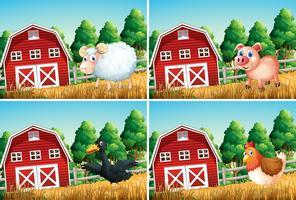 Set van dieren op de boerderij vector