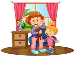 Twee kinderen in huis vector