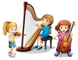 Drie meisjes die muziek spelen vector