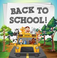 Terug naar schoolthema met dieren op bus vector