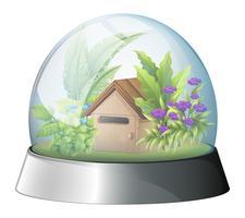Een koepel met een inboorlingenhuis erin vector