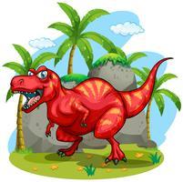 T-Rex die zich op gras bevindt