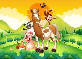 Landbouwhuisdieren in het veld vector