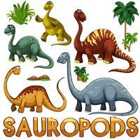 Verschillende kleur van sauropoden
