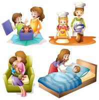 Moeder en kind doen verschillende activiteiten vector