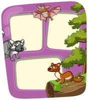 Grens sjabloon met wilde dieren in het bos vector