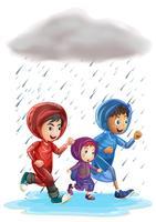 Drie kinderen die in de regen lopen vector