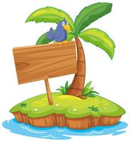 Eilandscène met vogel op houten teken