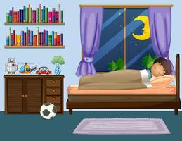 Jongensslaap in slaapkamer bij nacht vector