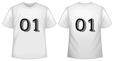 Witte t-shirt sjabloon met voor- en achterkant