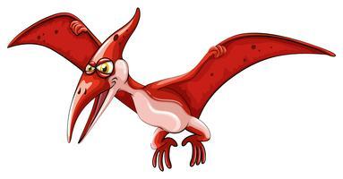 Rode dinosaurus die op wit vliegt