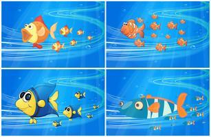 Scènes met vissen onder water vector