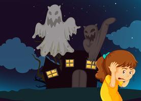 Meisje bang voor spookhuis met geesten vector
