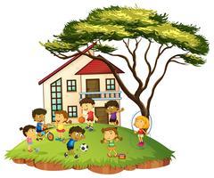 Scène met kinderen die thuis spelen