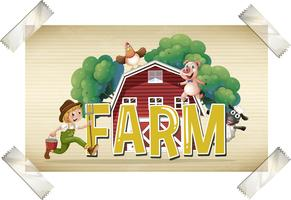 Flashcard voor woord boerderij met boer en dieren