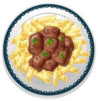 Plaat van pasta met rundvleesstoofpot vector