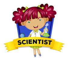 Beroepswoordkaart met vrouwelijke wetenschapper vector