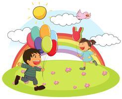 Twee kinderen spelen overdag in het park vector