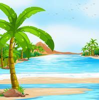 Scène met blauwe oceaan en kokospalmen