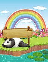 Panda en regenboog vector