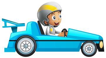 Racer in blauwe raceauto