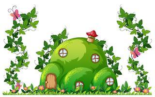 Een groen huis op een heuvel