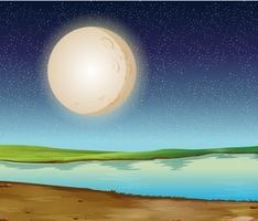 Scène met volle maan over de rivier vector