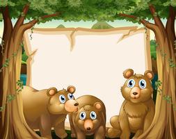 Papiersjabloon met beren op achtergrond