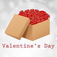 Velentine-kaartsjabloon met doos met rozen