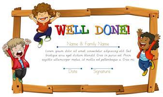 Certificaatsjabloon met kinderen en houten frame vector