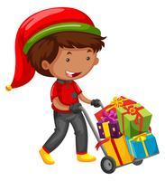 Man presenteert afleveren voor Kerstmis