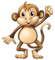 Wilde aap met hand omhoog