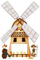 Landbouwer en kippen op windmolen