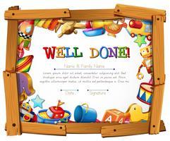 Certificaatsjabloon met speelgoed rond het frame vector