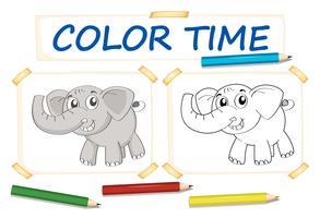 Kleur papieren sjabloon met olifant