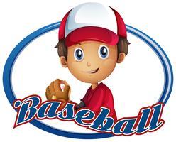 Sportlogo ontwerp met honkbalspeler vector