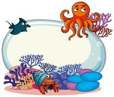 Grens sjabloon met zeedieren vector