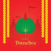 mooie illustratie van gelukkige dussehra met apta-bladeren, ook wel gouden bladeren, goudsbloemslinger en tempel op de achtergrond genoemd vector