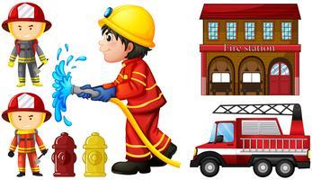 Brandweerlieden en brandweerkazerne vector