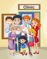 Arts en patiënten bij kliniek