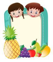 Grens sjabloon met kinderen en fruit