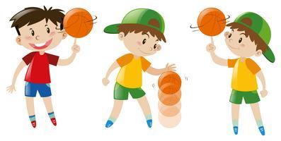 Drie jongens spelen basketbal