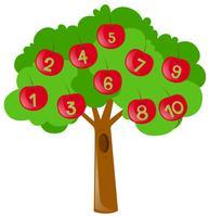 Tellen van getallen met rode appels op boom